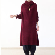 Load image into Gallery viewer, 2017 winter burgundy cotton knit sweater dresses plus size turtle neck warm winter dress