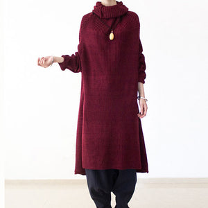 2017 winter burgundy cotton knit sweater dresses plus size turtle neck warm winter dress