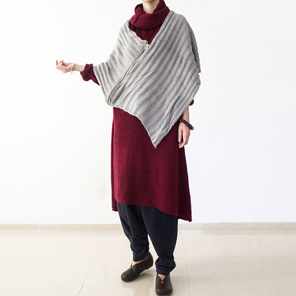 2021 winter burgundy cotton knit sweater dresses plus size turtle neck warm winter dress