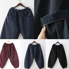 2017 winter dark blue cotton pants warm thick oversized linen pants casual cozy style