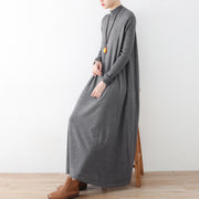 2021 winter gray knit maxi dresses elegant warm woolen dresses caftans gown