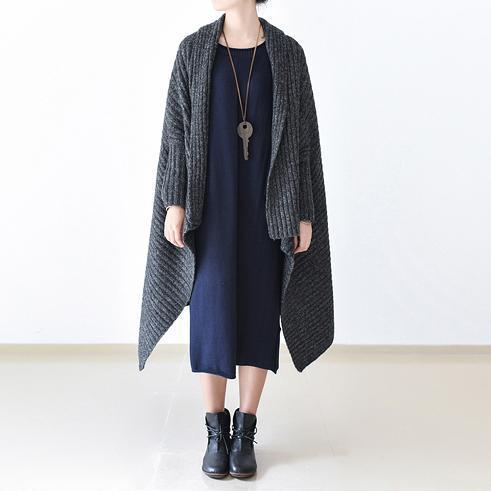 2021 winter gray knit sweater woolen cardigans plus size cape warm coats