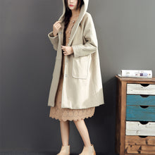 Load image into Gallery viewer, 2017 winter light yellow woolen coats plus size hooded elegant trench coat