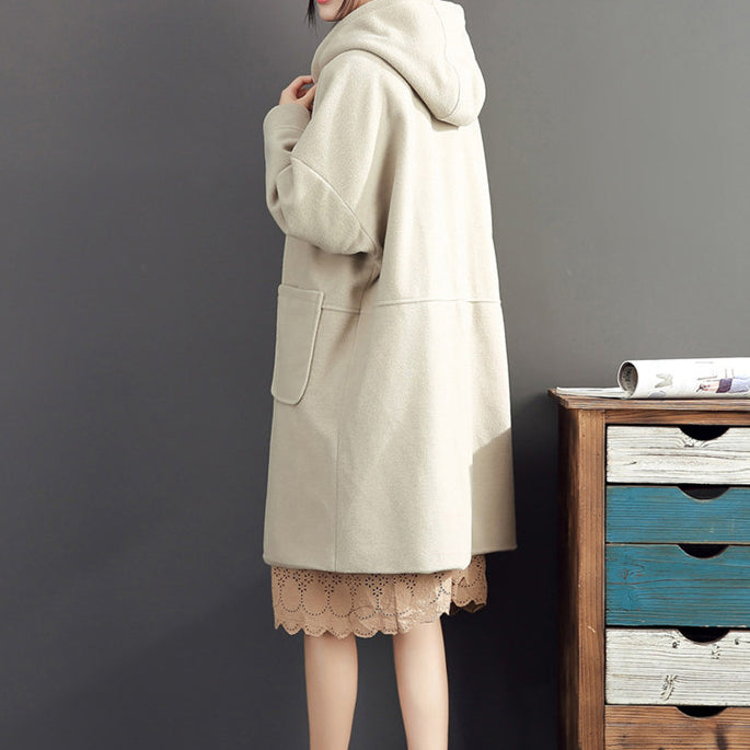 2021 winter light yellow woolen coats plus size hooded elegant trench coat