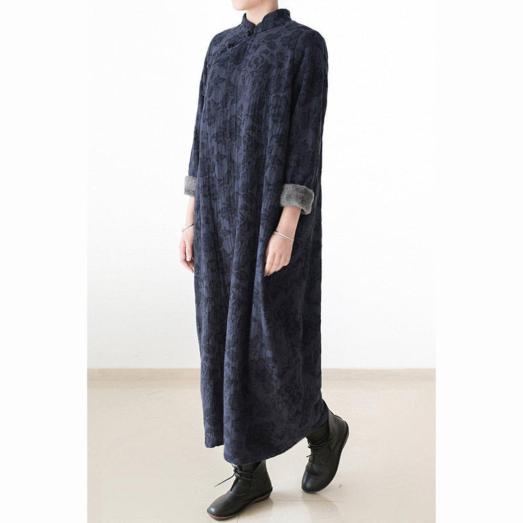 2021 winter linen dresses warm velour inside Jacquard long caftans winter dresses in navy