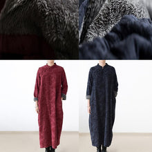 Load image into Gallery viewer, 2017 winter linen dresses warm velour inside Jacquard long caftans winter dresses in navy