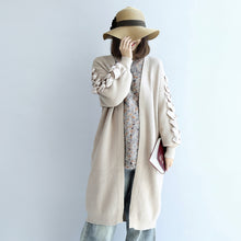 2017 winter nude long knit coats cardigans sweater outwear ribbon details