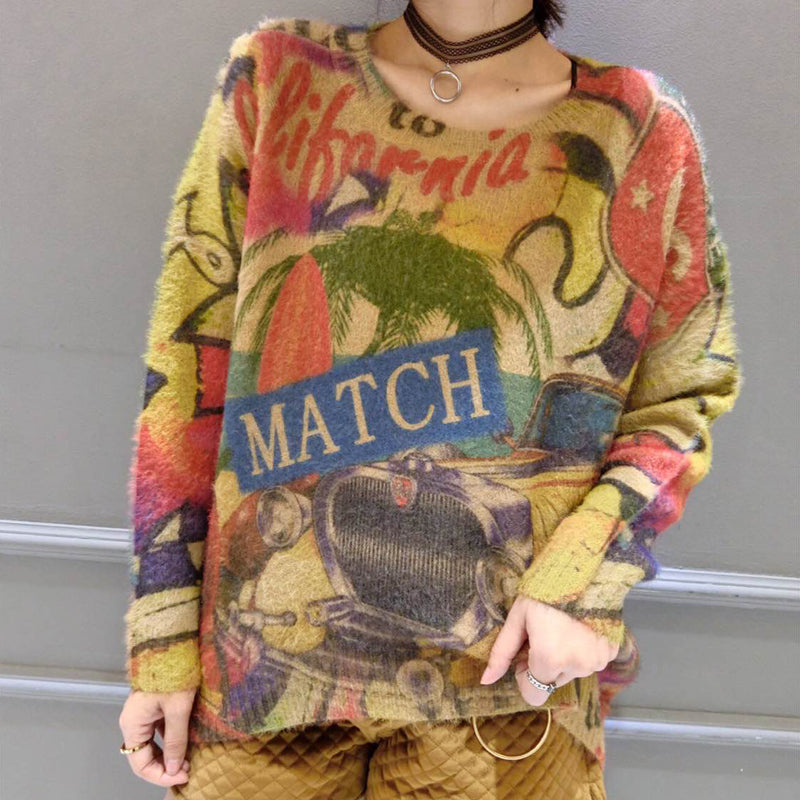 2017 winter o neck alphabet print cotton sweater tops ovresize long sleeve fashion knit pullover