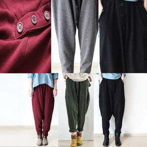 2017 winter pants green warm cotton carrot pants oversize elastic waist to 104cm