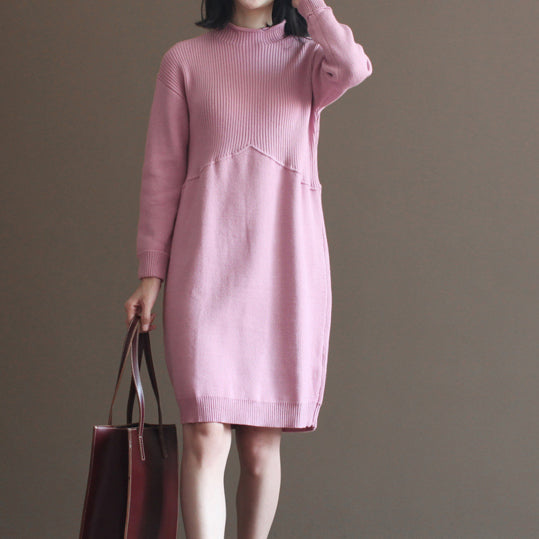 2017 winter pink rabbit woolen blended sweater dresses loose vintage knit dress