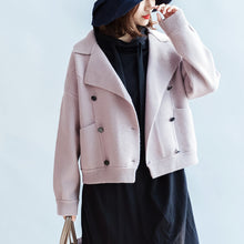Load image into Gallery viewer, 2017 winter pink short woolen jackets oversized woolen coats