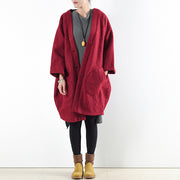 2021 winter red woolen coats oversized woman winter outwear original design