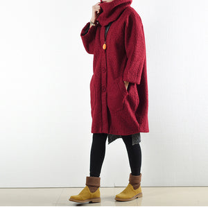 2017 Winter rote Wollmäntel übergroße Frau Winter Outwear Original Design
