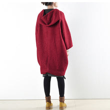 2017 winter red woolen coats oversized woman winter outwear original design