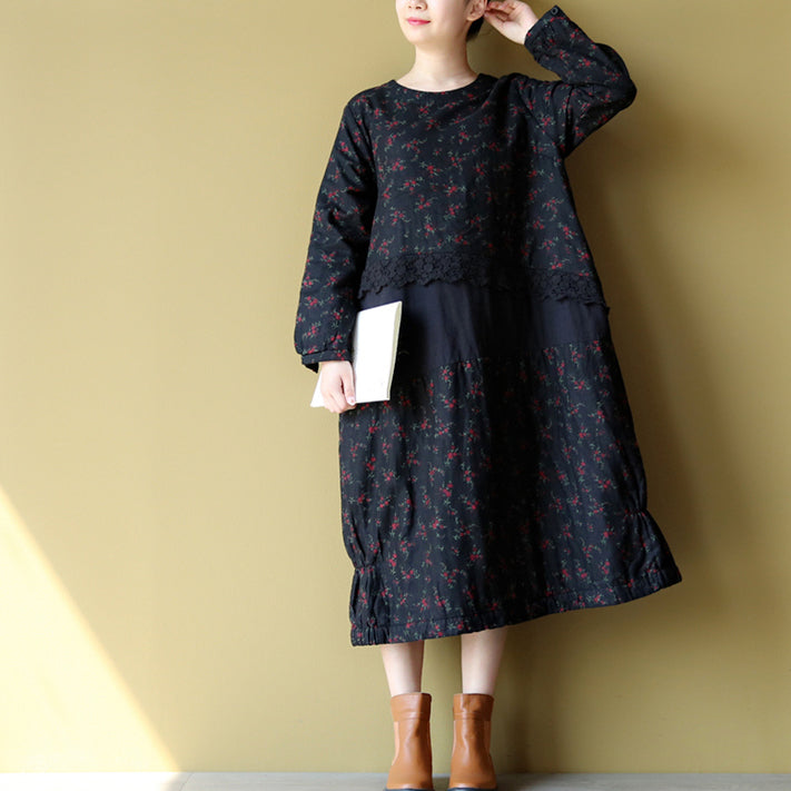 2021 winter warm embroidery floral cotton dresses oversize print patchwork linen thick maxi dress
