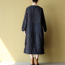 Afbeelding in Gallery-weergave laden, 2017 winter warm embroidery floral cotton dresses oversize print patchwork linen thick maxi dress