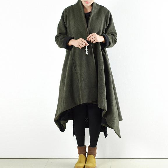 2017 winter woolen coats green cross asymmetrical cardigans long one button outwear dress
