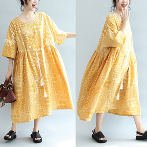 2017 yellow casual cotton dresses print  plus size sundress bracelet sleeved maxi dress