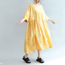 Load image into Gallery viewer, 2017 yellow casual cotton dresses print  plus size sundress bracelet sleeved maxi dress