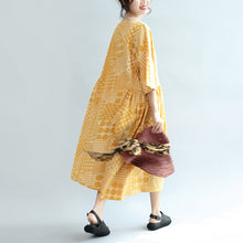 Afbeelding in Gallery-weergave laden, 2017 yellow casual cotton dresses print  plus size sundress bracelet sleeved maxi dress