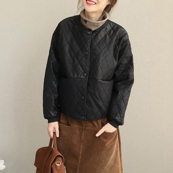 2018 Casual Black Loose PU Short Coat Women Fashion Jacket