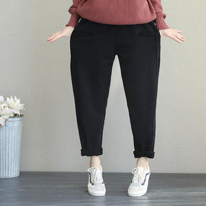 2019 Casual Women Brushed Thicken Casual Pants For Winter