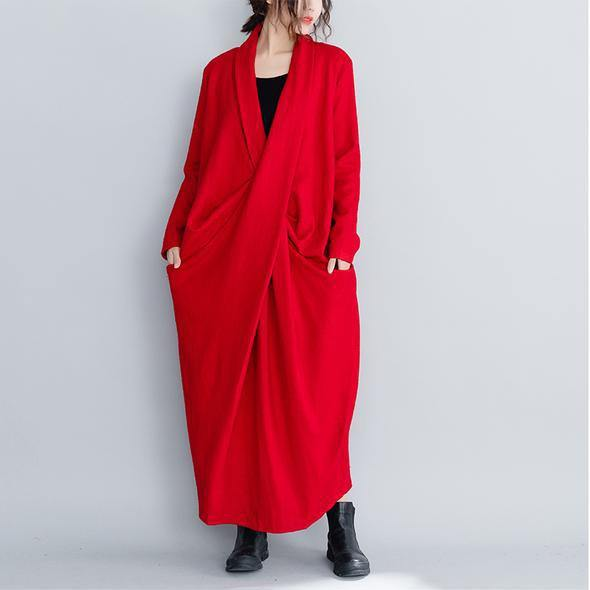 2019 Fashion Vintage Loose Red And Black Wool Maxi Dresses For Women