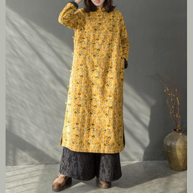 2019 New yellow floral spring dresses Chinese element Women Thicken Long Dresses