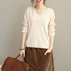 2018 New Simple Loose Base Sweater Women Casual Knitwear
