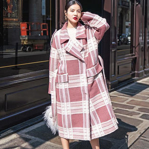 2018 Plaid Wool Coat casual Notched tie waist maxi coat Fashion pockets coat