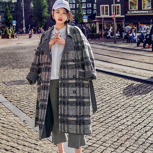 2018 Plaid coat Loose fitting Notched Winter coat Fine double breasted pockets Coats