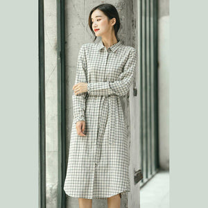 2018 Plaid fall casual linen dress baggy turn-down Collar linen dress