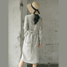Load image into Gallery viewer, 2018 Plaid fall casual linen dress baggy turn-down Collar linen dress
