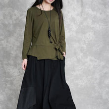 Load image into Gallery viewer, 2019 army green cotton tops oversized cotton maxi t shirts women asymmetric long sleeve cotton shirts
