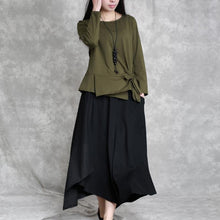 Afbeelding in Gallery-weergave laden, 2019 army green cotton tops oversized cotton maxi t shirts women asymmetric long sleeve cotton shirts