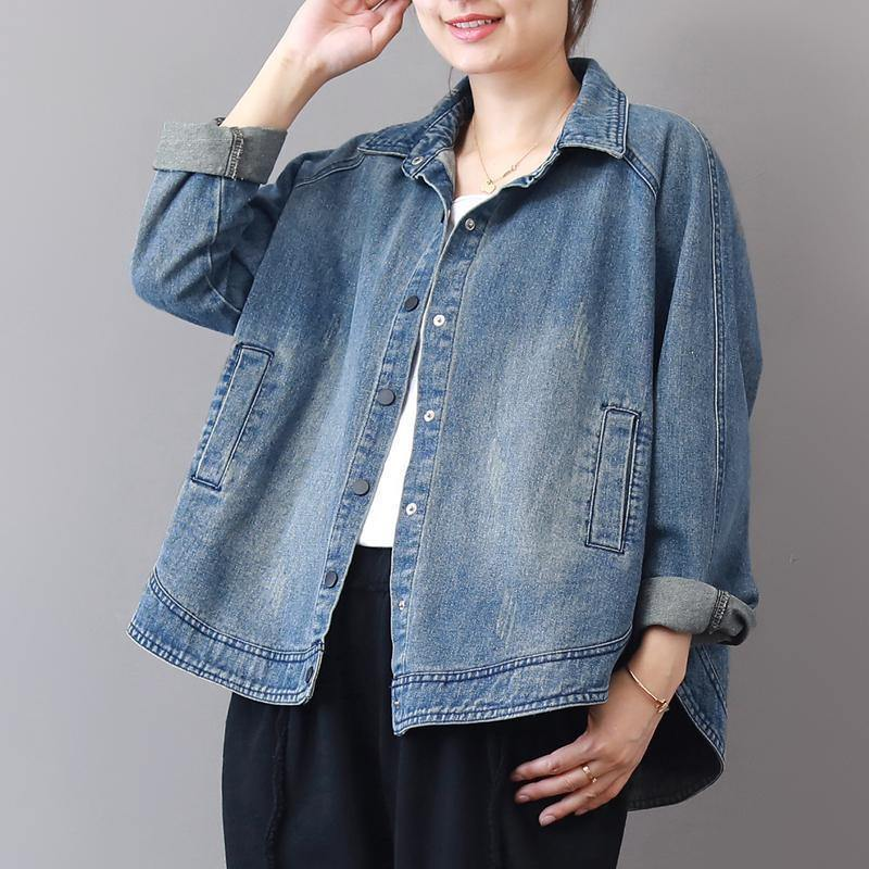 2019 autumn new casual denim blue cotton short coats plus size lapel collar wild tops coat