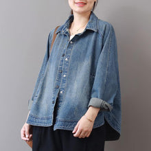 Load image into Gallery viewer, 2019 autumn new casual denim blue cotton short coats plus size lapel collar wild tops coat