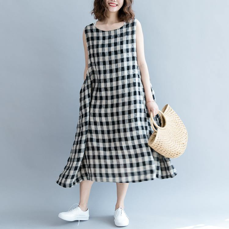 2019 black Plaid linen cotton shift dresses top quality Sleeveless baggy dresses O neck wrinkled cotton dress