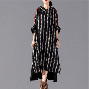2018 black Plaid long plus size Hooded cotton linen clothing dress New patchwork autumn dress