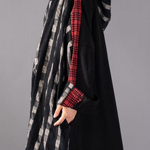 Load image into Gallery viewer, 2019 black Plaid long plus size Hooded cotton linen clothing dress New patchwork autumn dress