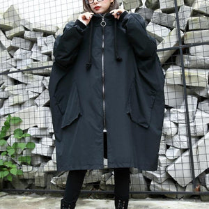 2019 black Winter coat trendy plus size hooded baggy zippered Coats women pockets coats