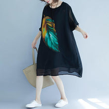Load image into Gallery viewer, 2019 black beach dress o neck short sleeve floor length dress baggy dresses summer dress