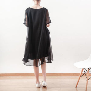 2018 black chiffon dresses casual holiday dresses New o neck asymmetric ruffles chiffon clothing dresses