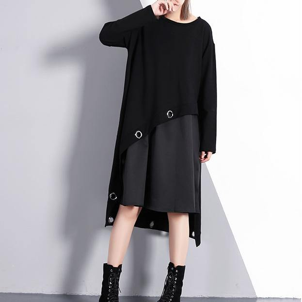 2019 black cotton blended oversize traveling dress two pieces asymmetric New O neck midi dress