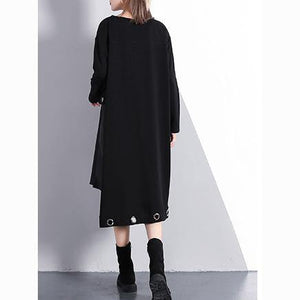2018 black cotton blended oversize traveling dress two pieces asymmetric New O neck midi dress