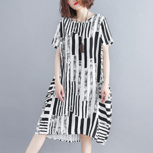 Load image into Gallery viewer, 2019 black cotton blended shift dress plus size clothing casual dress Elegant short sleeve Geometric O neck asymmetric knee dresses