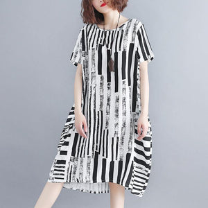 2019 black cotton blended shift dress plus size clothing casual dress Elegant short sleeve Geometric O neck asymmetric knee dresses