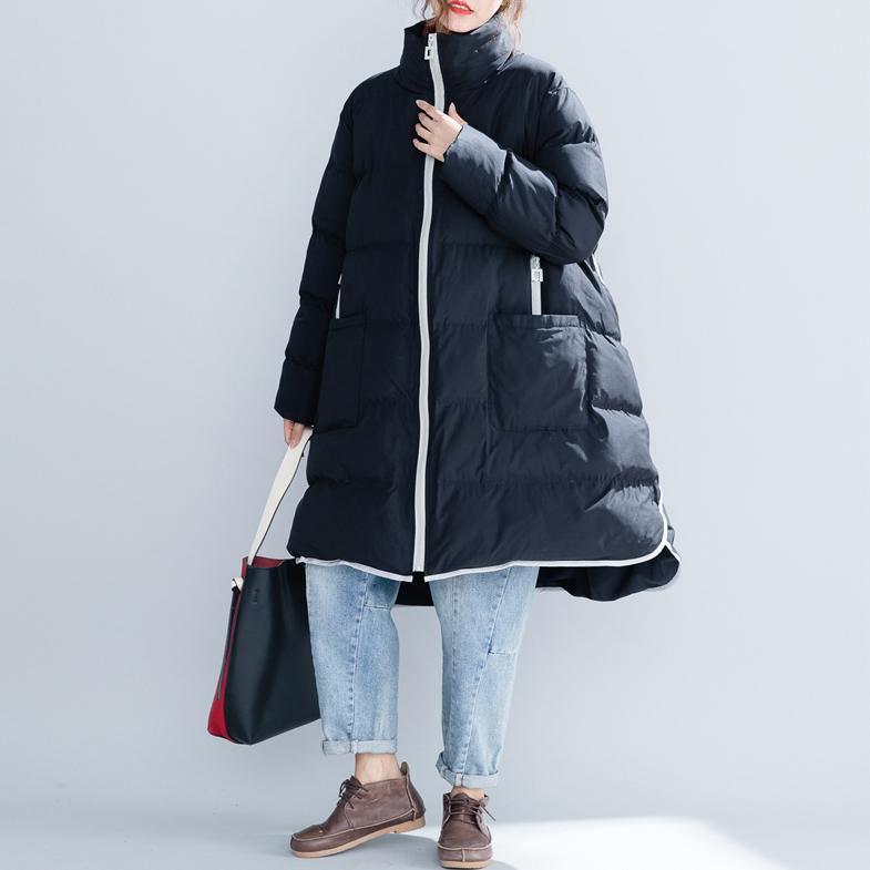 2019 black cotton jacket trendy plus size stand collar zippered Warm pockets thick winter cotton coats