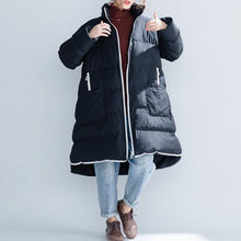 Load image into Gallery viewer, 2019 black cotton jacket trendy plus size stand collar zippered Warm pockets thick winter cotton coats