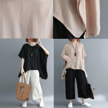Afbeelding in Gallery-weergave laden, 2019 black cotton linen waistcoat trendy plus size linen clothing blouses boutique short sleeve o neck brief t shirt